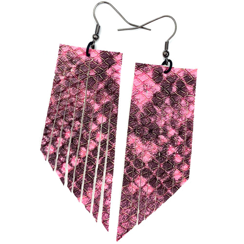 Hot Pink Snakeprint Fringe Earrings