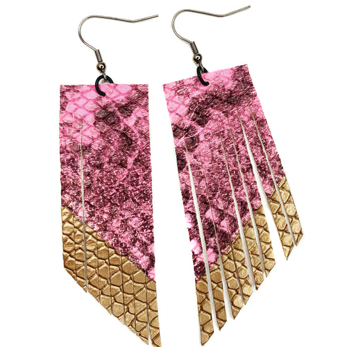 Hot Pink Snakeprint Fringe Earrings - gold paint