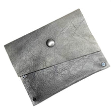 Grey Leather Snap Wallet