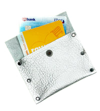 Silver Leather Snap Wallet