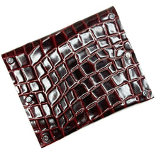 Garnet Red Croc Embossed Leather Snap Wallet