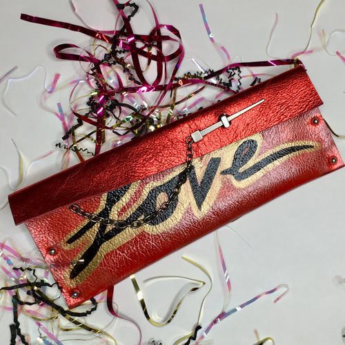 Red LOVE Metallic Dagger Clutch