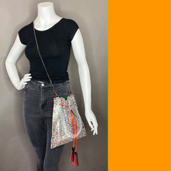 Iridescent Snakeprint Drawstring Crossbody Bag