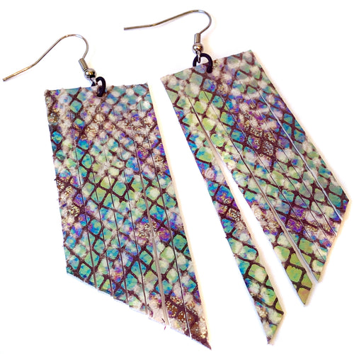 Iridescent Snake Print Fringe Earrings