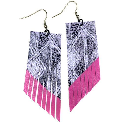 Lavender Aztec Fringe Earrings - Magenta Paint