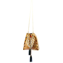 Metallic Marigold Leopard Drawstring Crossbody Bag