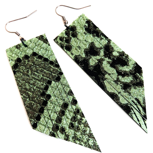 Metallic Jade Gucci Fringe Earrings