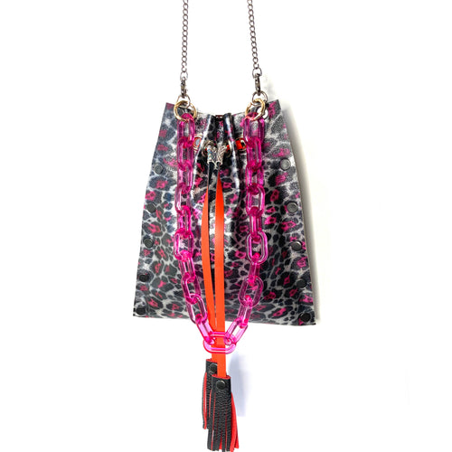 Metallic Pink Leopard Drawstring Crossbody Bag