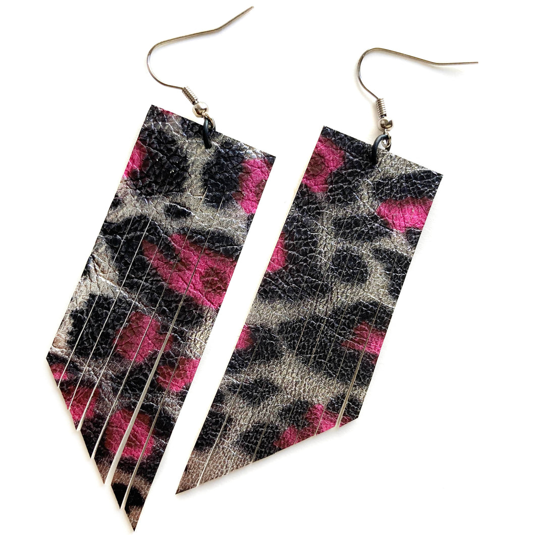 Metallic Pink/Black Leopard Fringe Earrings