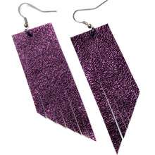 Metallic Purple Fringe Earrings