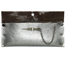 Gunmetal Metallic Dagger Clutch