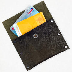 Olive Brown Leather Snap Wallet