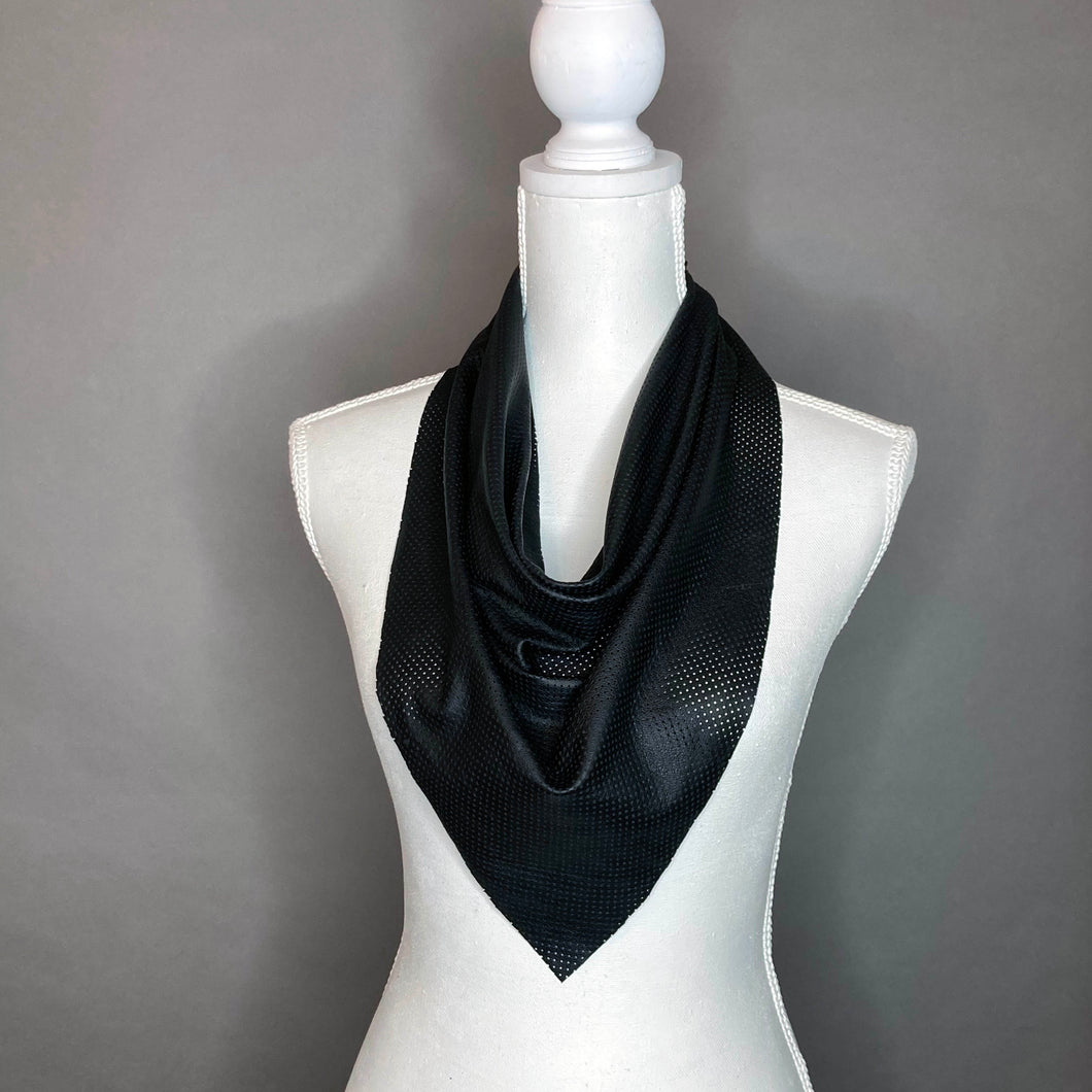 Black Perforated Leather Scarf - Jazzy