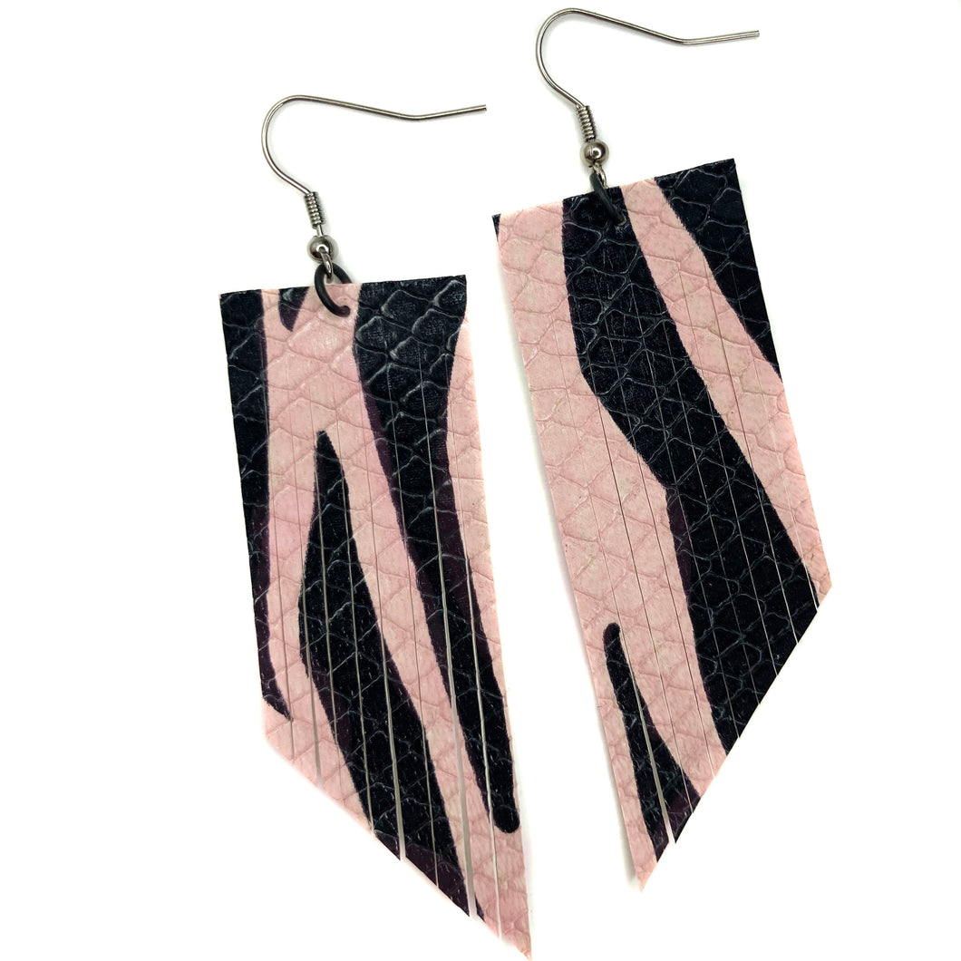 Blush & Black Zebra Fringe Earrings