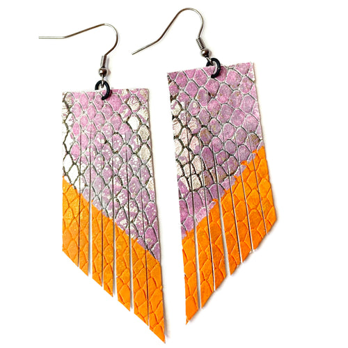 Pink Snake Print Fringe Earrings - Orange Paint
