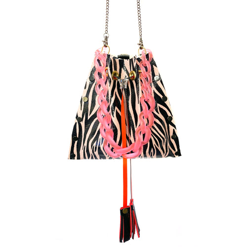 Blush & Black Zebra Drawstring Crossbody Bag