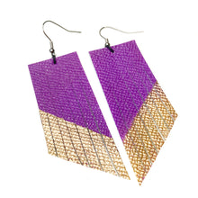 Lilac Plum Fringe Earrings - Gold Paint