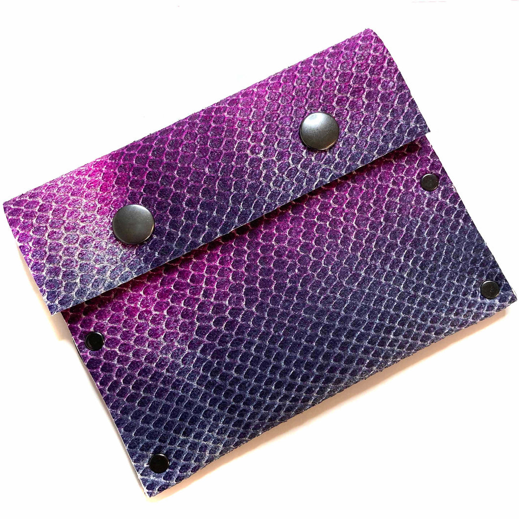Purple Ombre Leather Snap Wallet