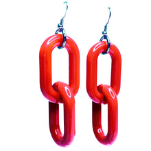Cherry Red Acrylic Chain 2 Link Earrings