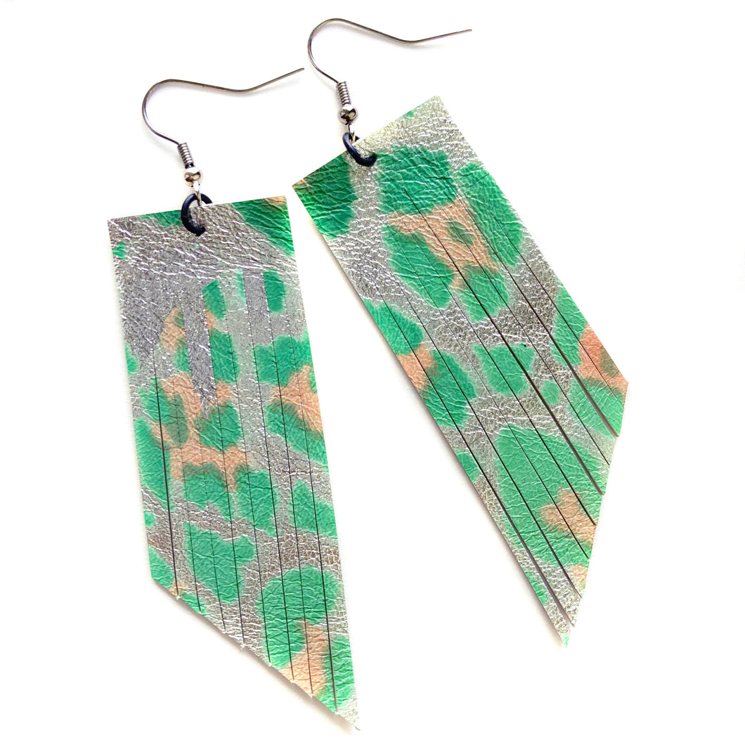 Metallic Sea Green Leopard Fringe Earrings