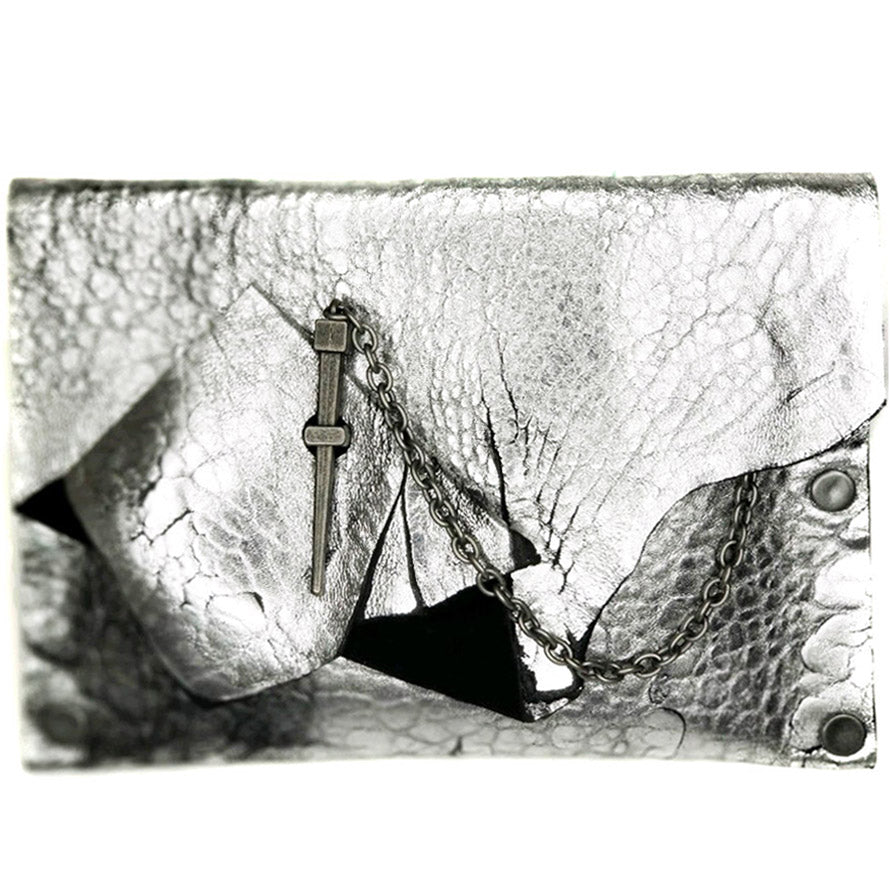 Silver Abstract Dagger Clutch