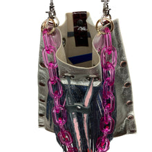 Silver Drawstring with Blue Python Fringe Bag
