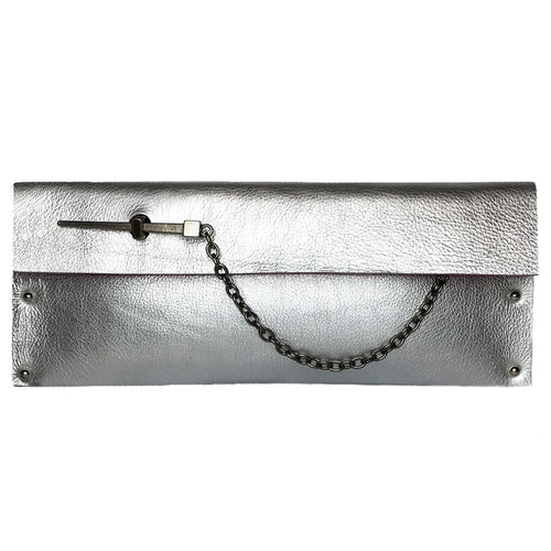 Silver Metallic Dagger Clutch