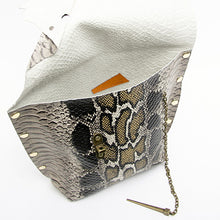 Oversized Snakeprint Dagger Clutch with Chain