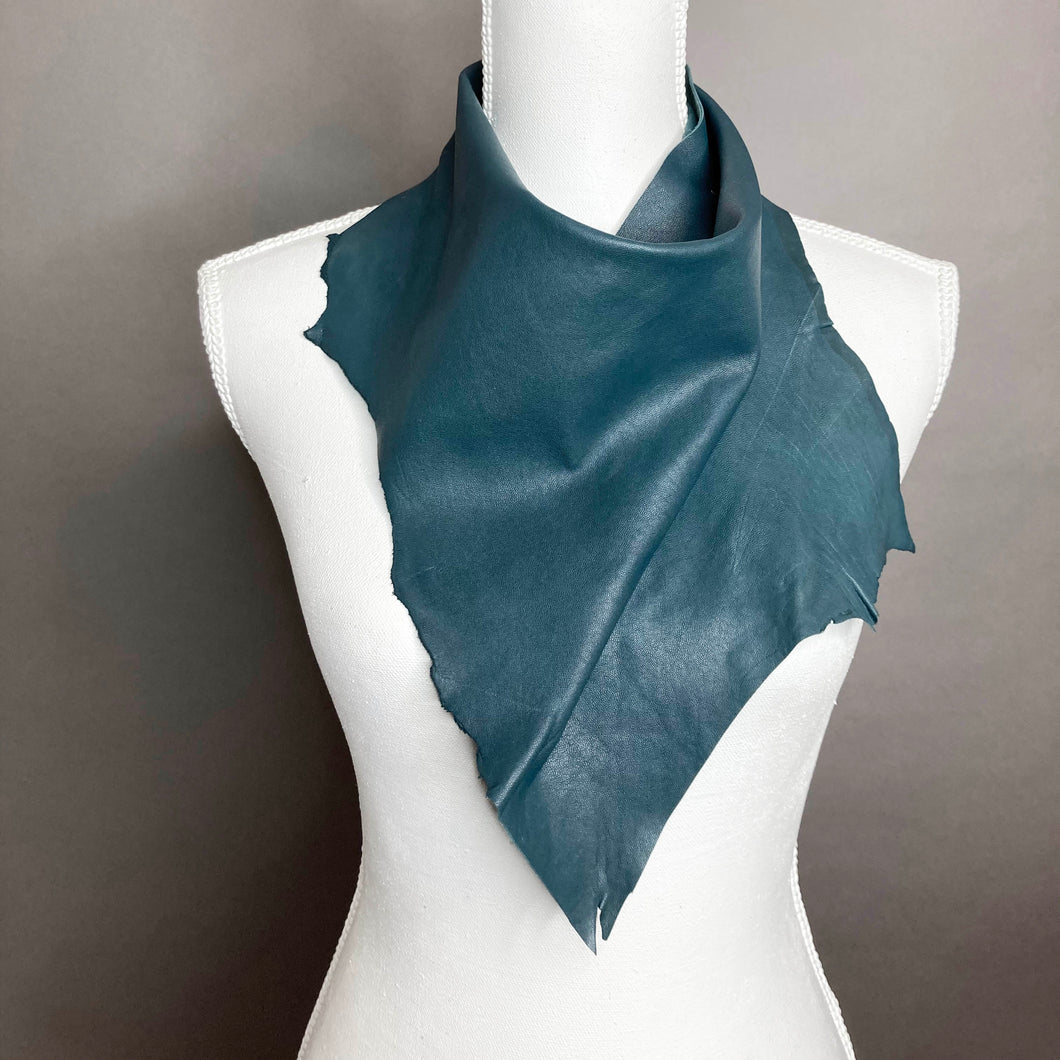 Dark Teal Leather Scarf