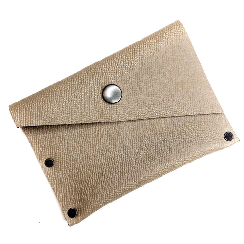 Taupe Leather Snap Wallet