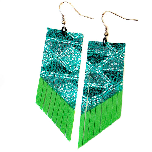 Teal Aztec Fringe Earrings - Lime Paint