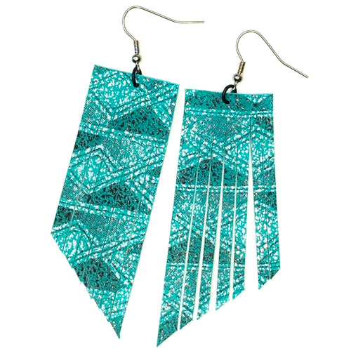 Teal Aztec Fringe Earrings