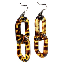 Tortoise Shell Acrylic 2 Link Earrings