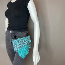 Turquoise Leopard Convertible Fanny Pack with Fringe