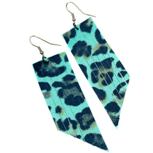 Turquoise Leopard Print Fringe Earrings