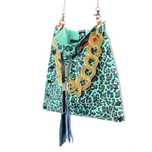 Turquoise Leopard Drawstring Crossbody Bag