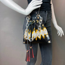Yellow Python Print Drawstring Crossbody Bag