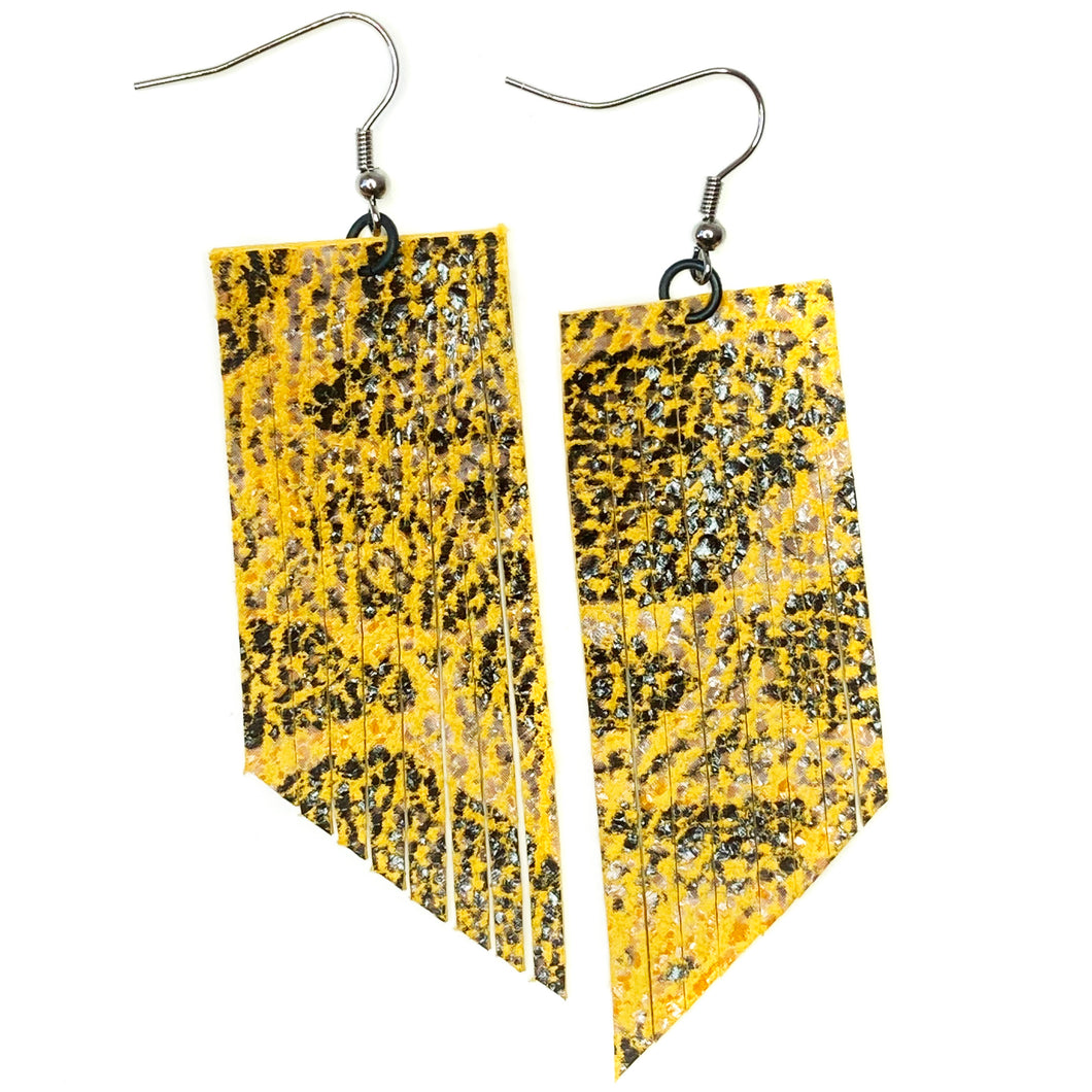 Yellow Snake Print Fringe Earrings