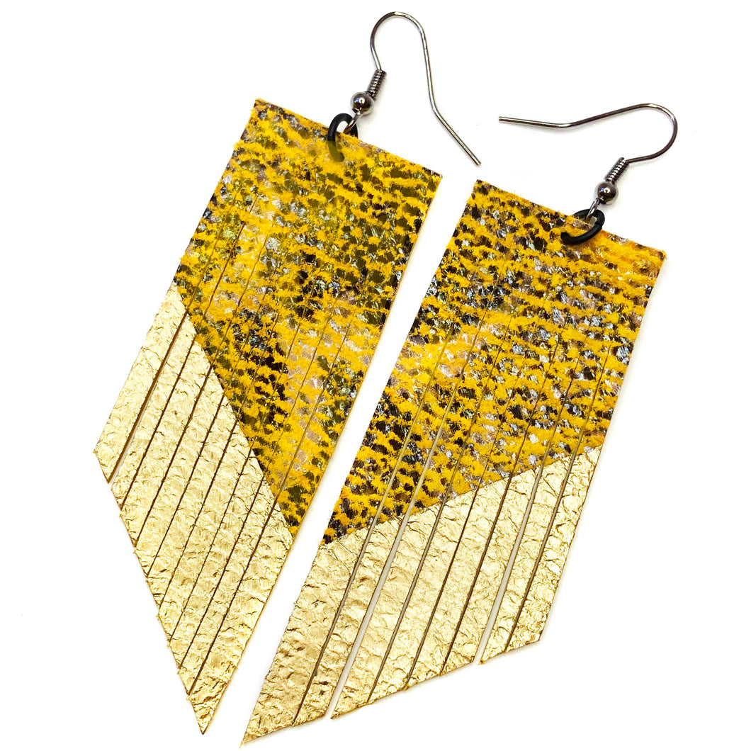 Yellow Snake Print Fringe Earrings- Gold Paint