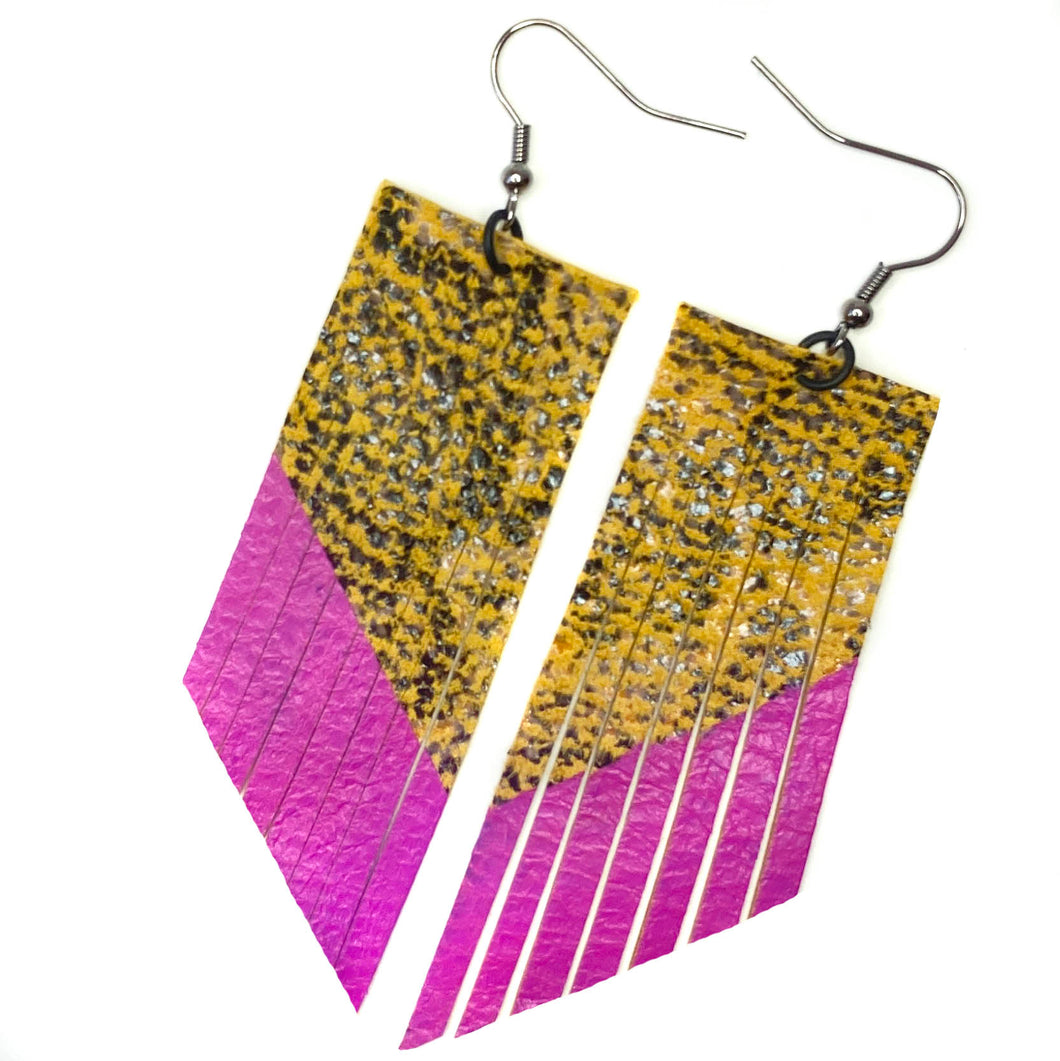 Yellow Snake Print Fringe Earrings- Pink Paint