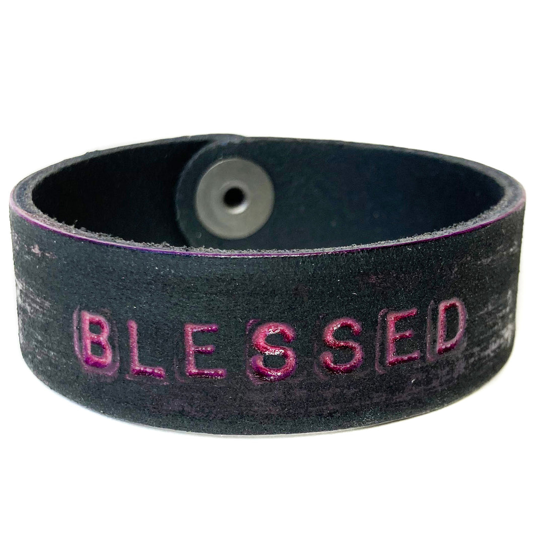 BLESSED Monogram Bracelet - Distressed Magenta/Black