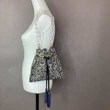Grey Leopard Print Drawstring Crossbody Bag
