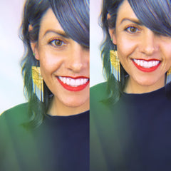 Yellow Snake Print Fringe Earrings- Grey Paint