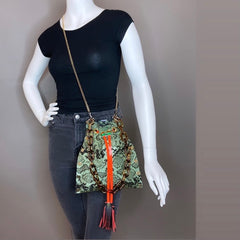 Metallic Jade Drawstring Crossbody Bag