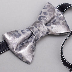 Metallic Leopard Leather Bow Tie