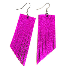 Metallic Magenta Fringe Earrings