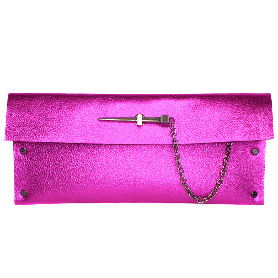Metallic Pink Dagger clutch