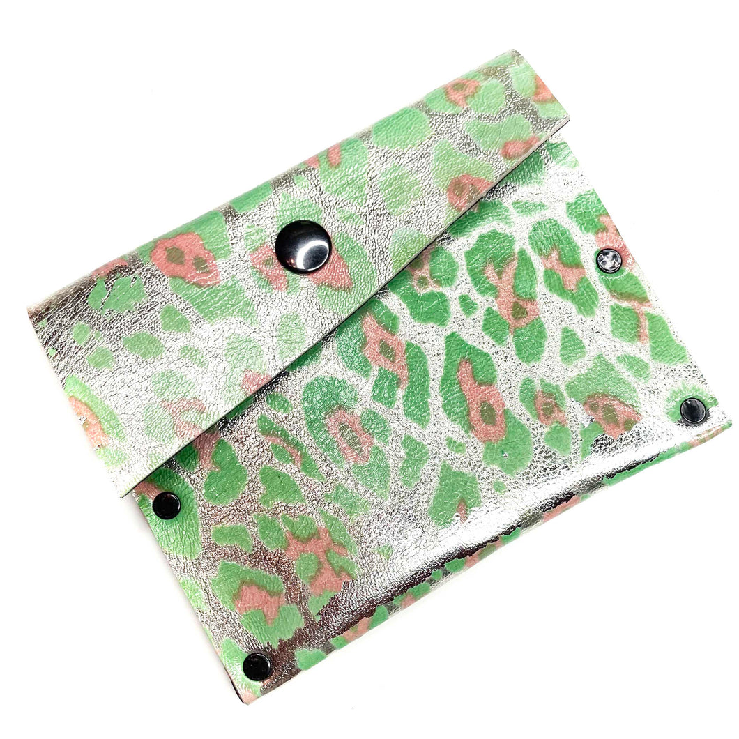 Metallic Seagreen Leopardprint Leather Snap Wallet