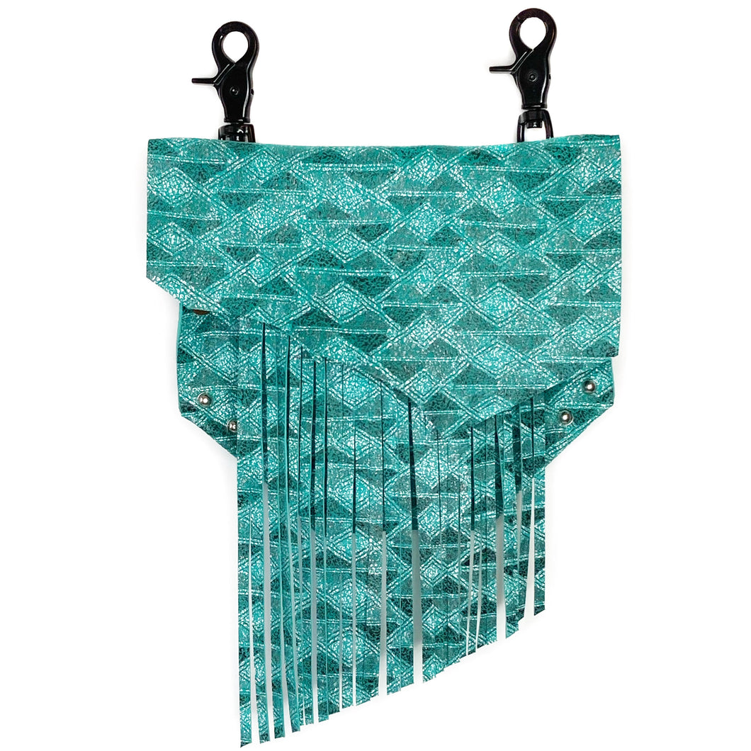 Teal Aztec Convertible Fanny Pack with Fringe