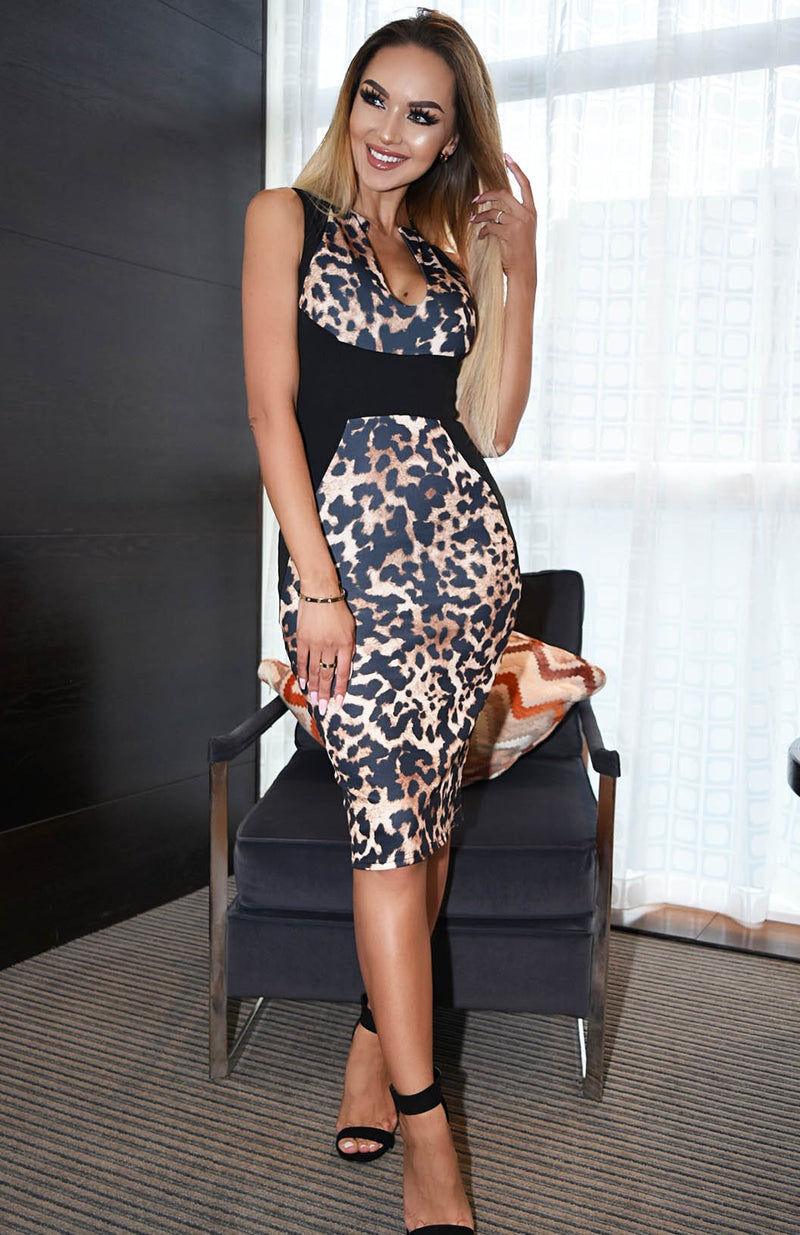Black & Leopard Print Contrast Bodycon Midi Dress